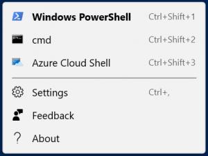 Windows Terminal menu options