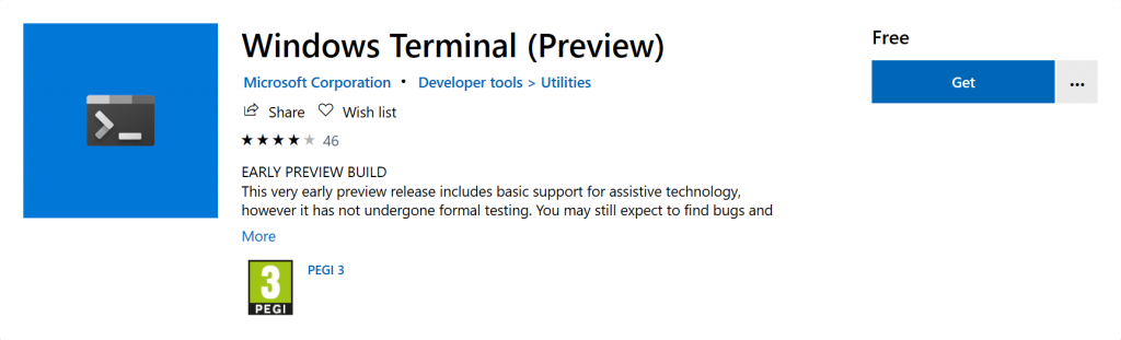 Windows Terminal in the Microsoft Store