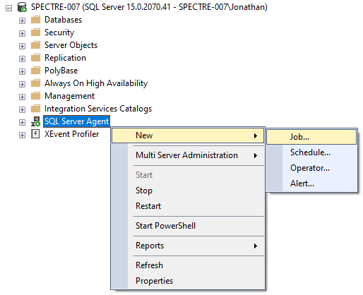 Creating a new SQL Server Agent Job