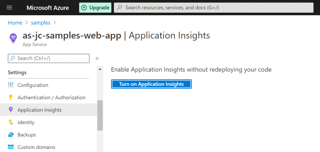 Enabling the Application Insights site extension