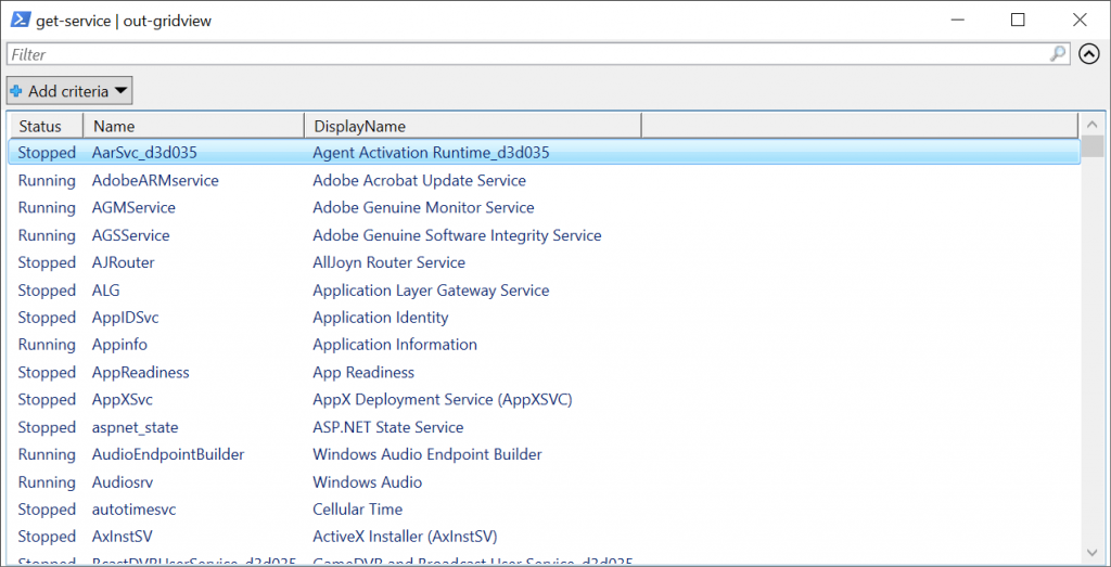 PowerShell GridView
