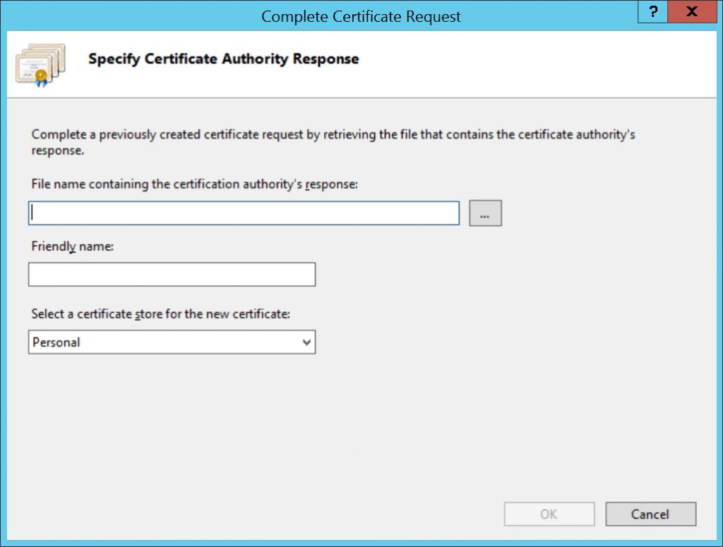 IIS Complete Certificate dialog