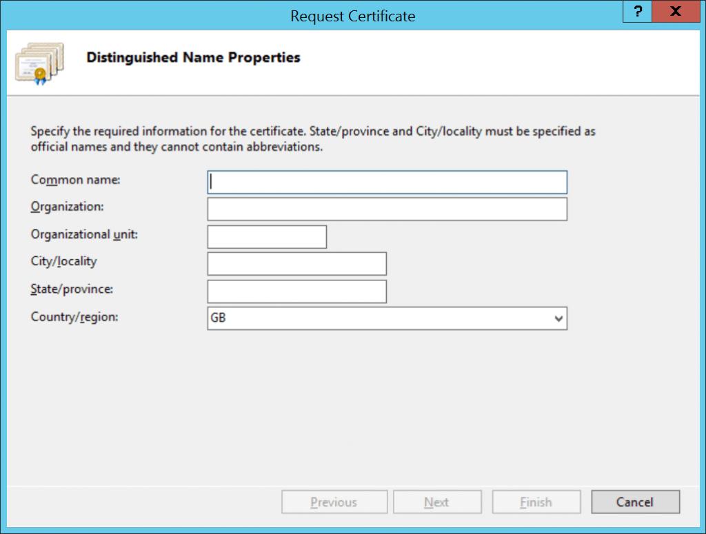 IIS Request Certificate wizard