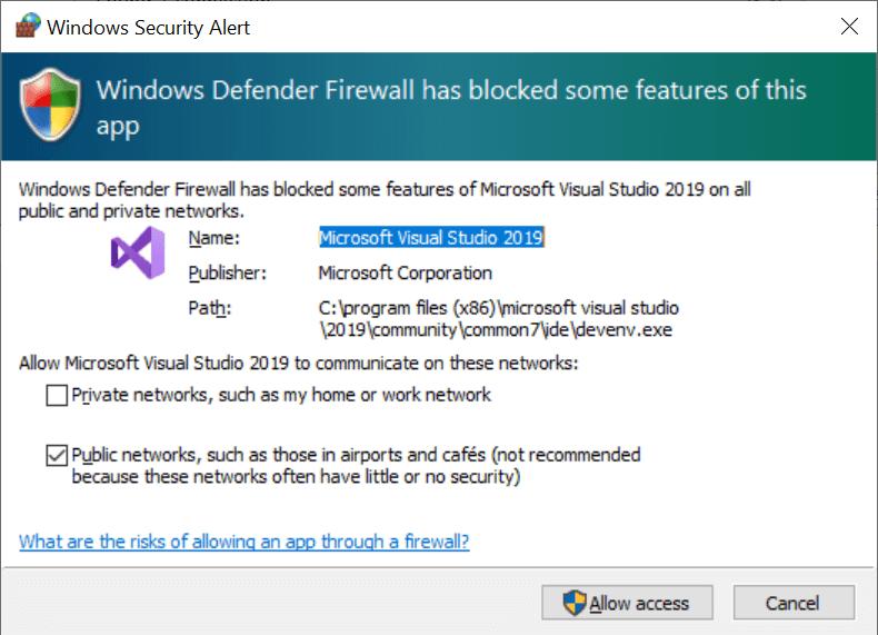 Windows Security Alert prompt