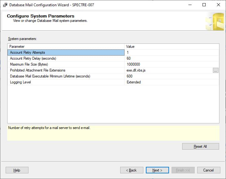 Configure System Parameters page