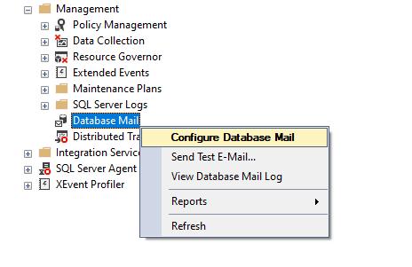 Configure Database Mail option