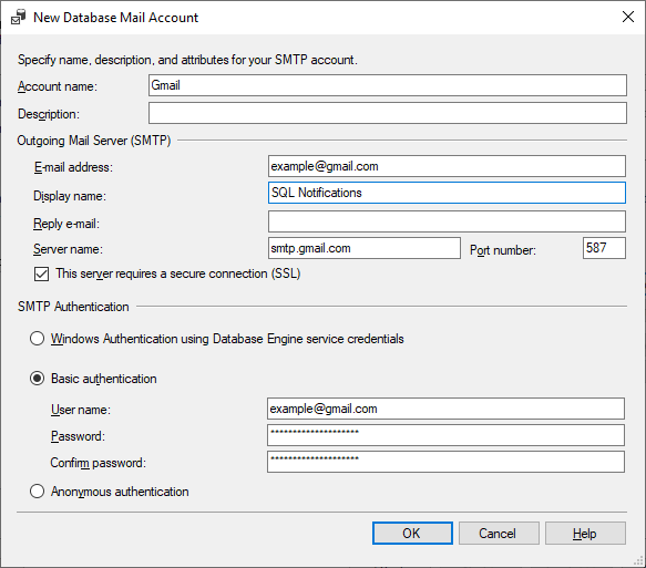 New Database Mail Account dialog