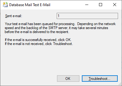 Database Mail Test E-Mail prompt