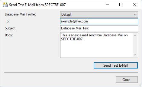 Send Test E-Mail dialog